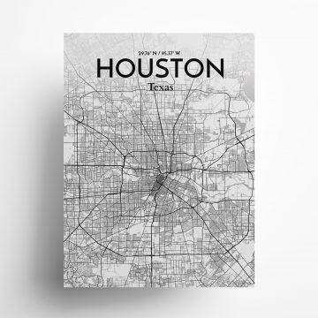 "Houston city map poster in Tones of size 18"" x 24"""