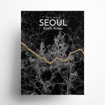 "Seoul city map poster in Luxe of size 18"" x 24"""