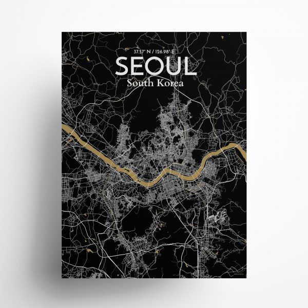 """Seoul city map poster in Luxe of size 18"""" x 24"""""""