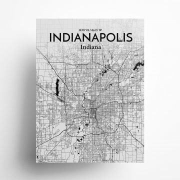 "Indianapolis city map poster in Ink of size 18"" x 24"""