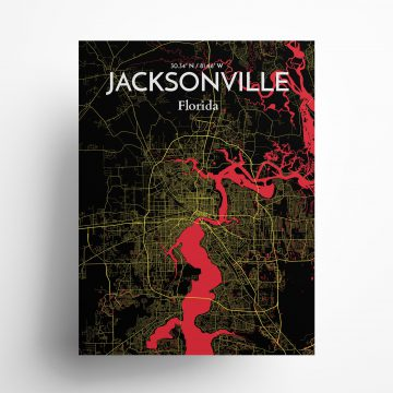 "Jacksonville city map poster in Contrast of size 18"" x 24"""