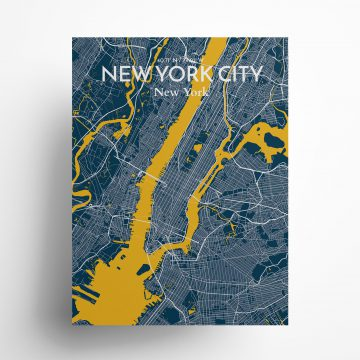 "New York City city map poster in Amuse of size 18"" x 24"""
