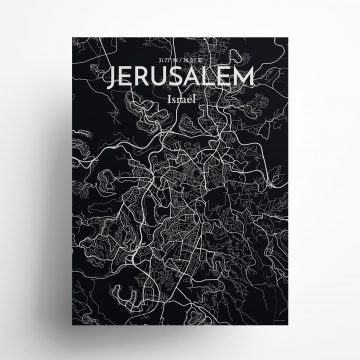 "Jerusalem city map poster in Midnight of size 18"" x 24"""