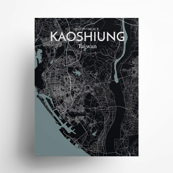 """Kaoshiung city map poster in Midnight of size 18"""" x 24"""""""