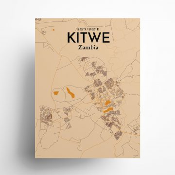"Kitwe city map poster in Vintage of size 18"" x 24"""