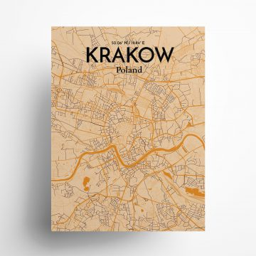 """Krakow city map poster in Vintage of size 18"""" x 24"""""""