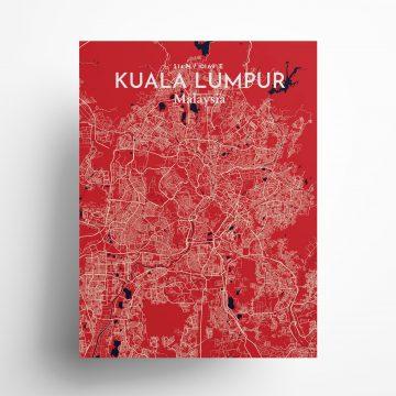 "Kuala Lumpur city map poster in Nautical of size 18"" x 24"""