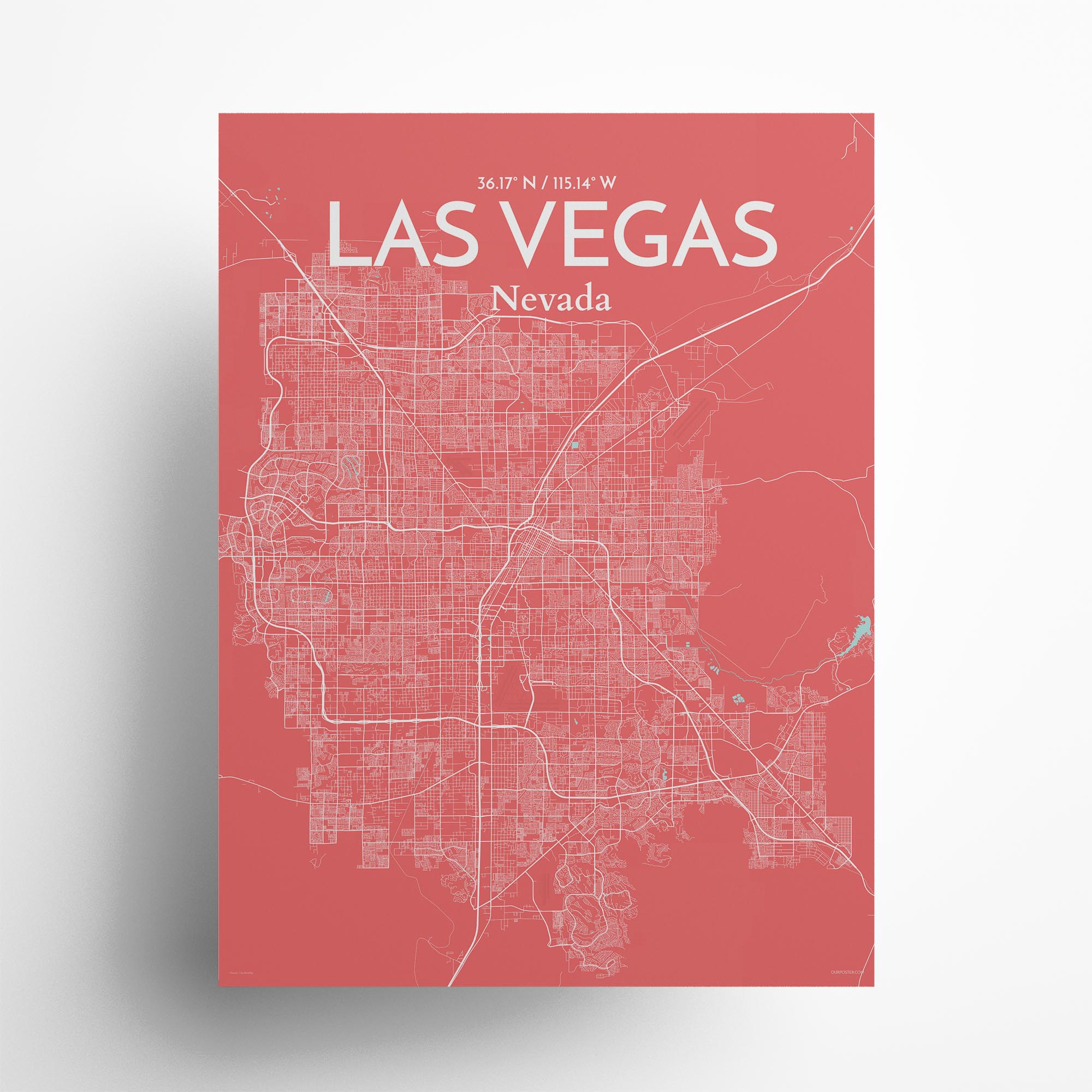 "Las Vegas city map poster in Maritime of size 18"" x 24"""
