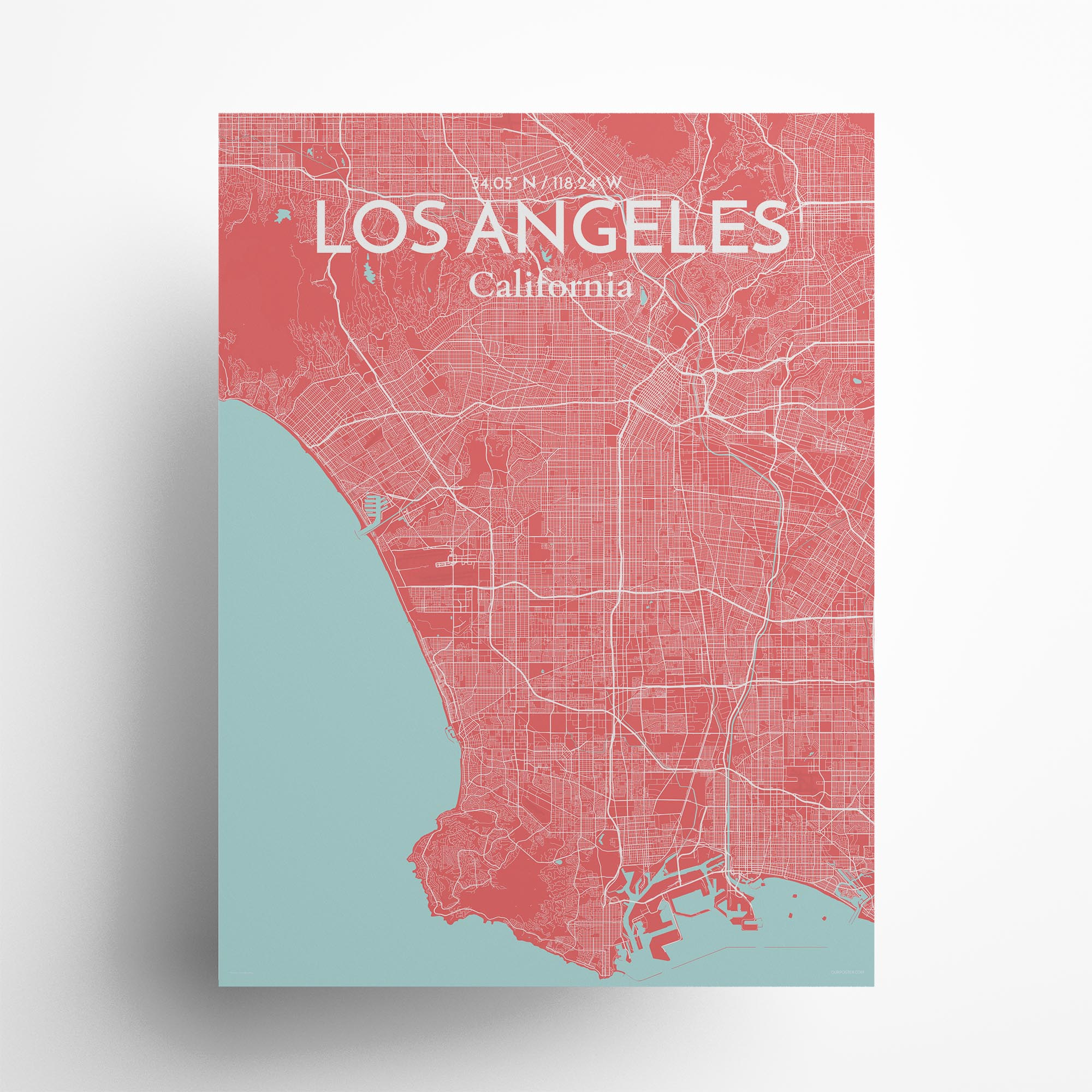 """Los Angeles city map poster in Maritime of size 18"""" x 24"""""""