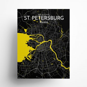 "St. Petersburg city map poster in Times of size 18"" x 24"""