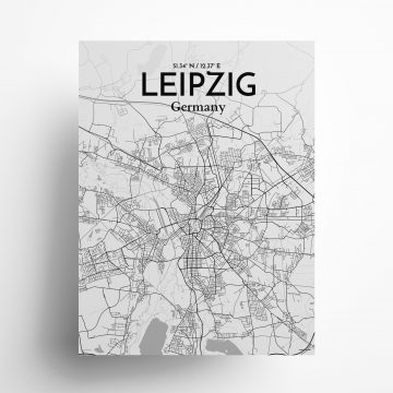"Leipzig city map poster in Tones of size 18"" x 24"""