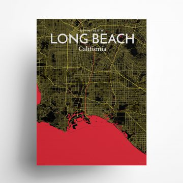"""Long Beach city map poster in Contrast of size 18"""" x 24"""""""