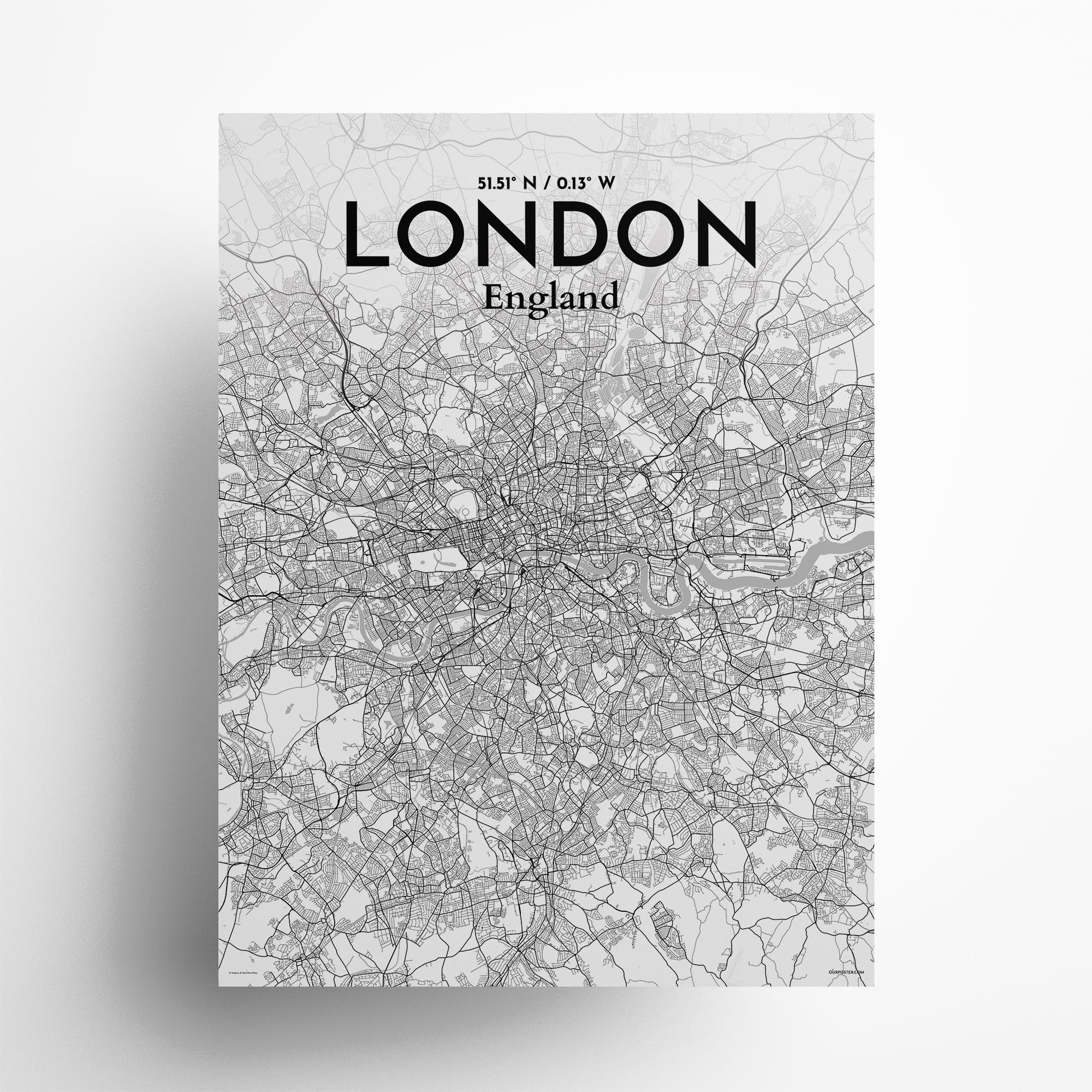 """London city map poster in Tones of size 18"""" x 24"""""""