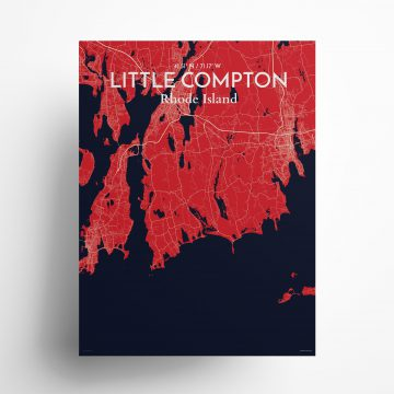"Litle Compton city map poster in Nautical of size 18"" x 24"""