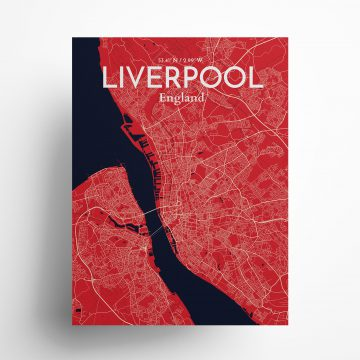 "Liverpool city map poster in Nautical of size 18"" x 24"""