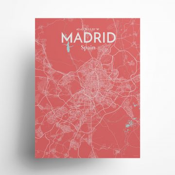 """Madrid city map poster in Maritime of size 18"""" x 24"""""""