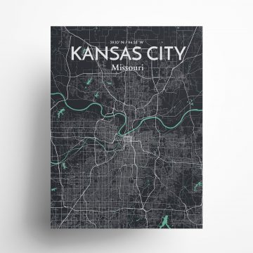"Kansas City city map poster in Dream of size 18"" x 24"""