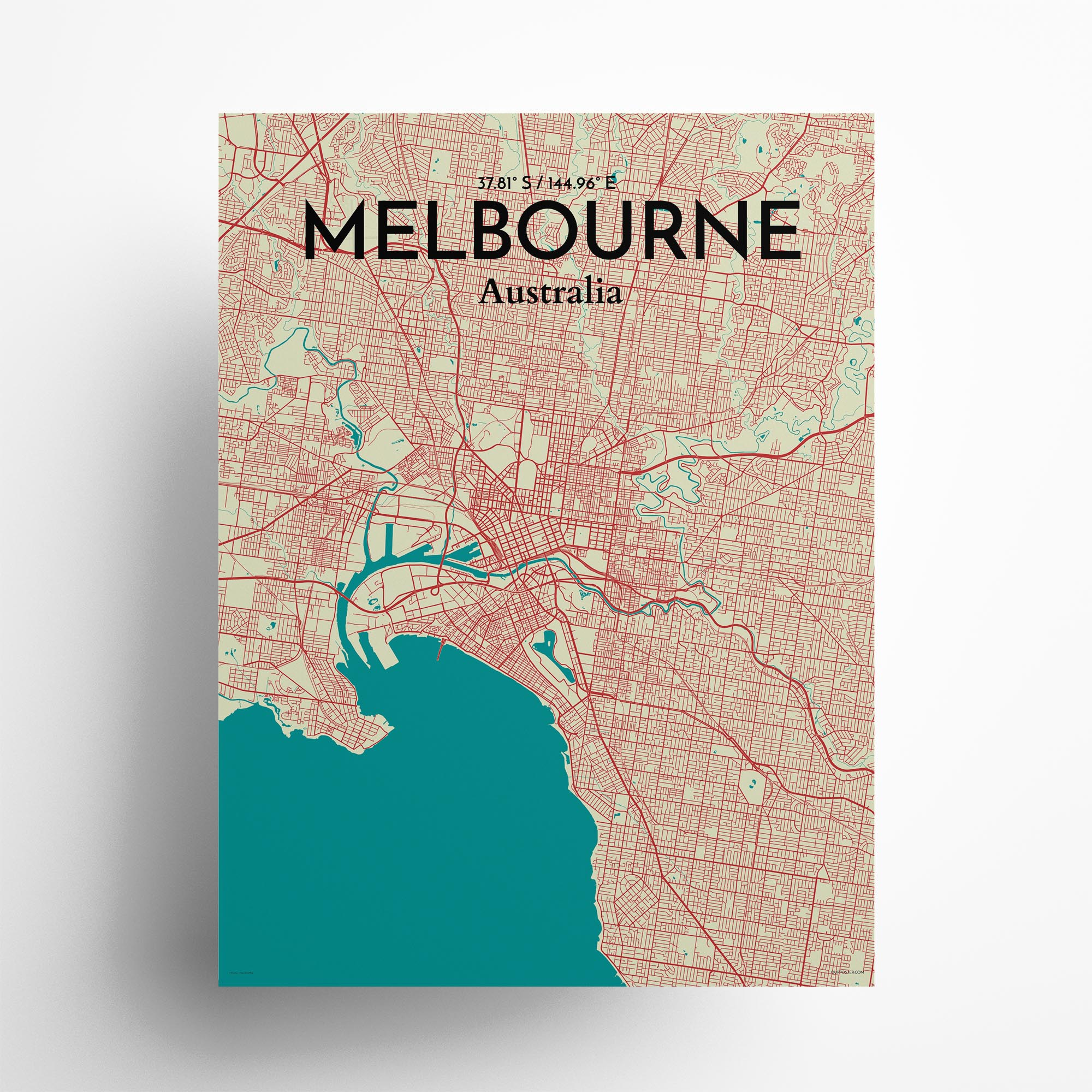 "Melbourne city map poster in Tricolor of size 18"" x 24"""