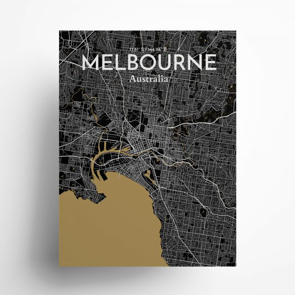 "Melbourne city map poster in Luxe of size 18"" x 24"""