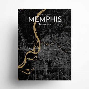 "Memphis city map poster in Luxe of size 18"" x 24"""