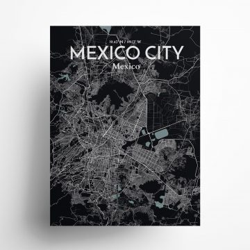 "Mexico City city map poster in Midnight of size 18"" x 24"""