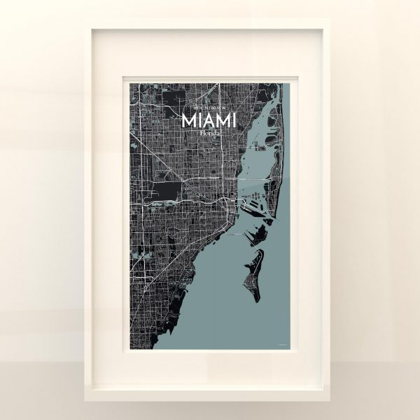 Miami City Map Poster by OurPoster.com