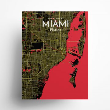 "Miami city map poster in Contrast of size 18"" x 24"""