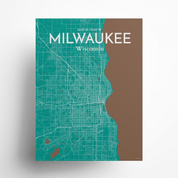 """Milwaukee city map poster in Nature of size 18"""" x 24"""""""