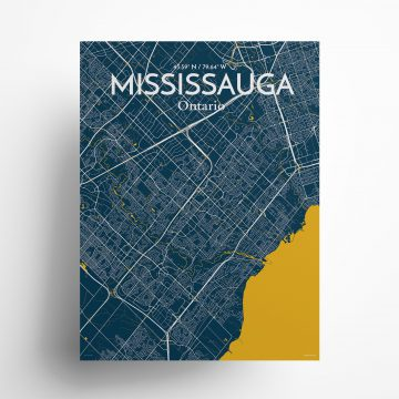 "Mississauga city map poster in Amuse of size 18"" x 24"""