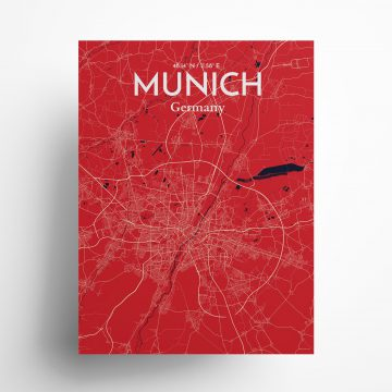 "Munich city map poster in Nautical of size 18"" x 24"""