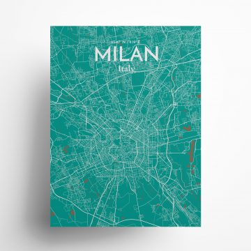 """Milan city map poster in Nature of size 18"""" x 24"""""""