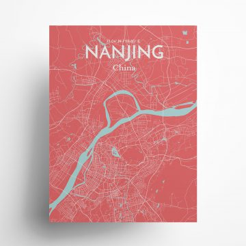"Nanjing city map poster in Maritime of size 18"" x 24"""