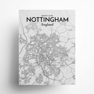 "Nottingham city map poster in Tones of size 18"" x 24"""