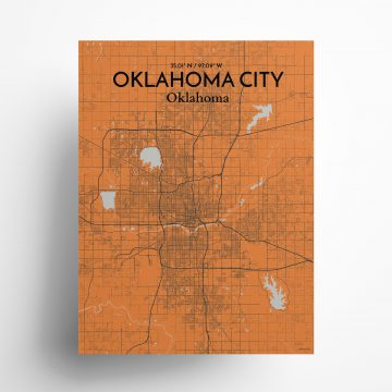 "Oklahoma City city map poster in Oranje of size 18"" x 24"""