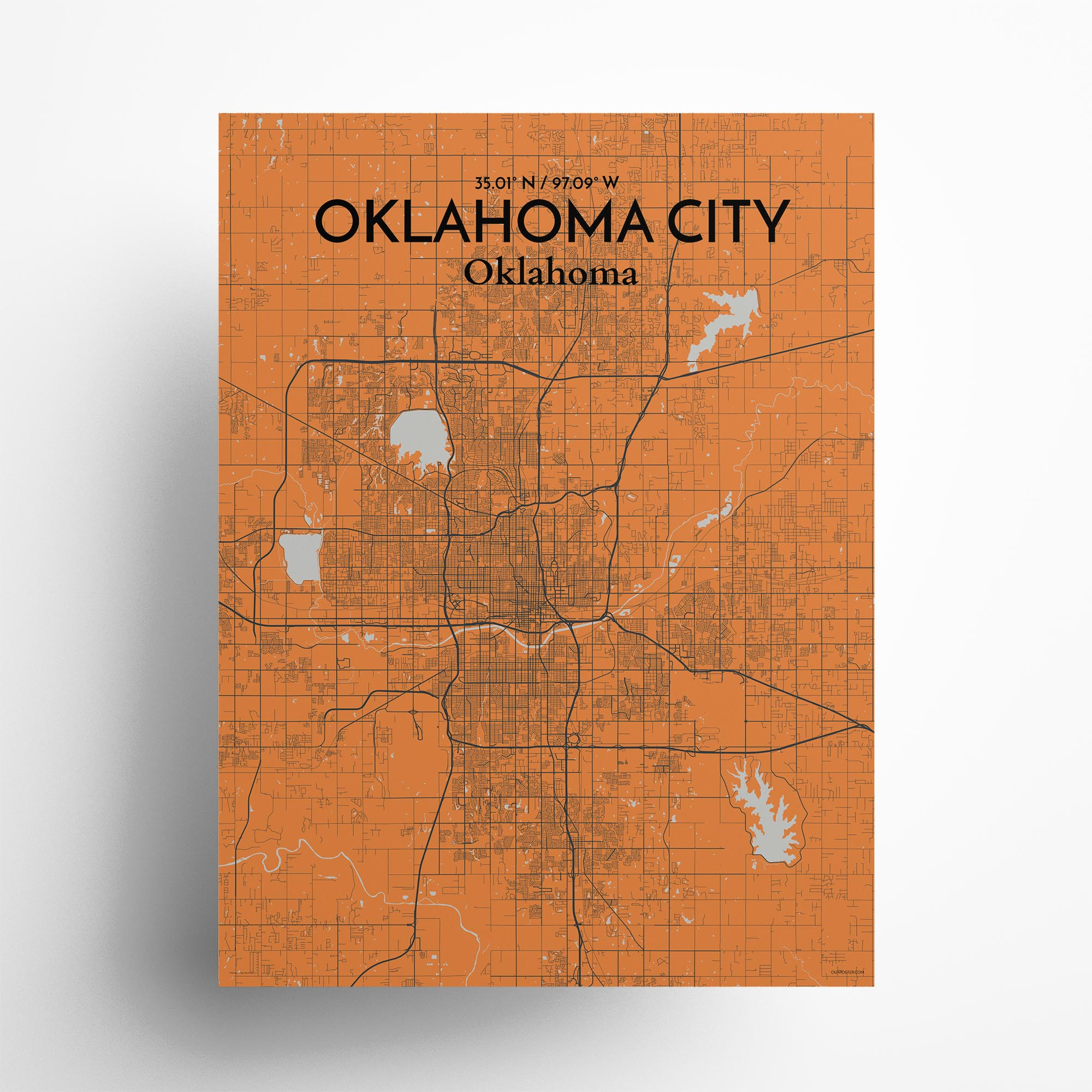 "Oklahoma City city map poster in Oranje of size 18"" x 24"""