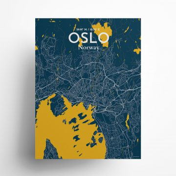 """Oslo city map poster in Amuse of size 18"""" x 24"""""""