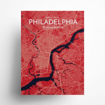 "Philadelphia city map poster in Nautical of size 18"" x 24"""