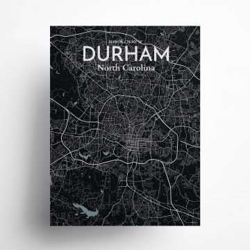 "Durham city map poster in Midnight of size 18"" x 24"""
