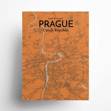 "Prague city map poster in Oranje of size 18"" x 24"""