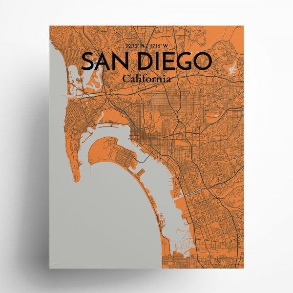San Diego City Map Poster by OurPoster.com