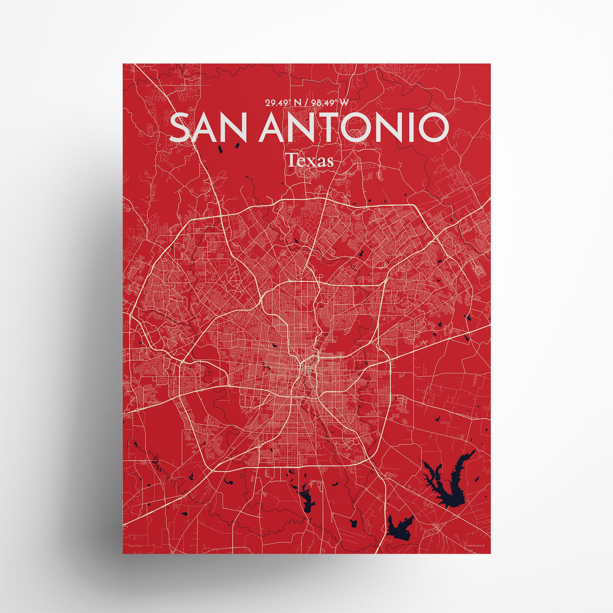 "San Antonio city map poster in Nautical of size 18"" x 24"""