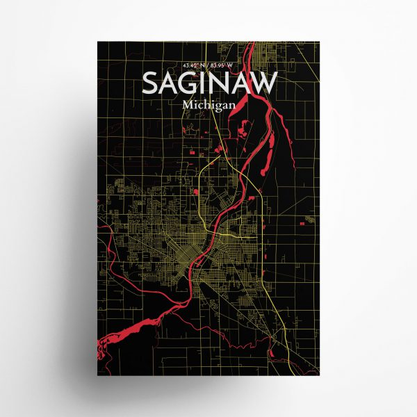 Saginaw City Map Poster by OurPoster.com