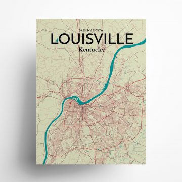 "Louisville city map poster in Tricolor of size 18"" x 24"""