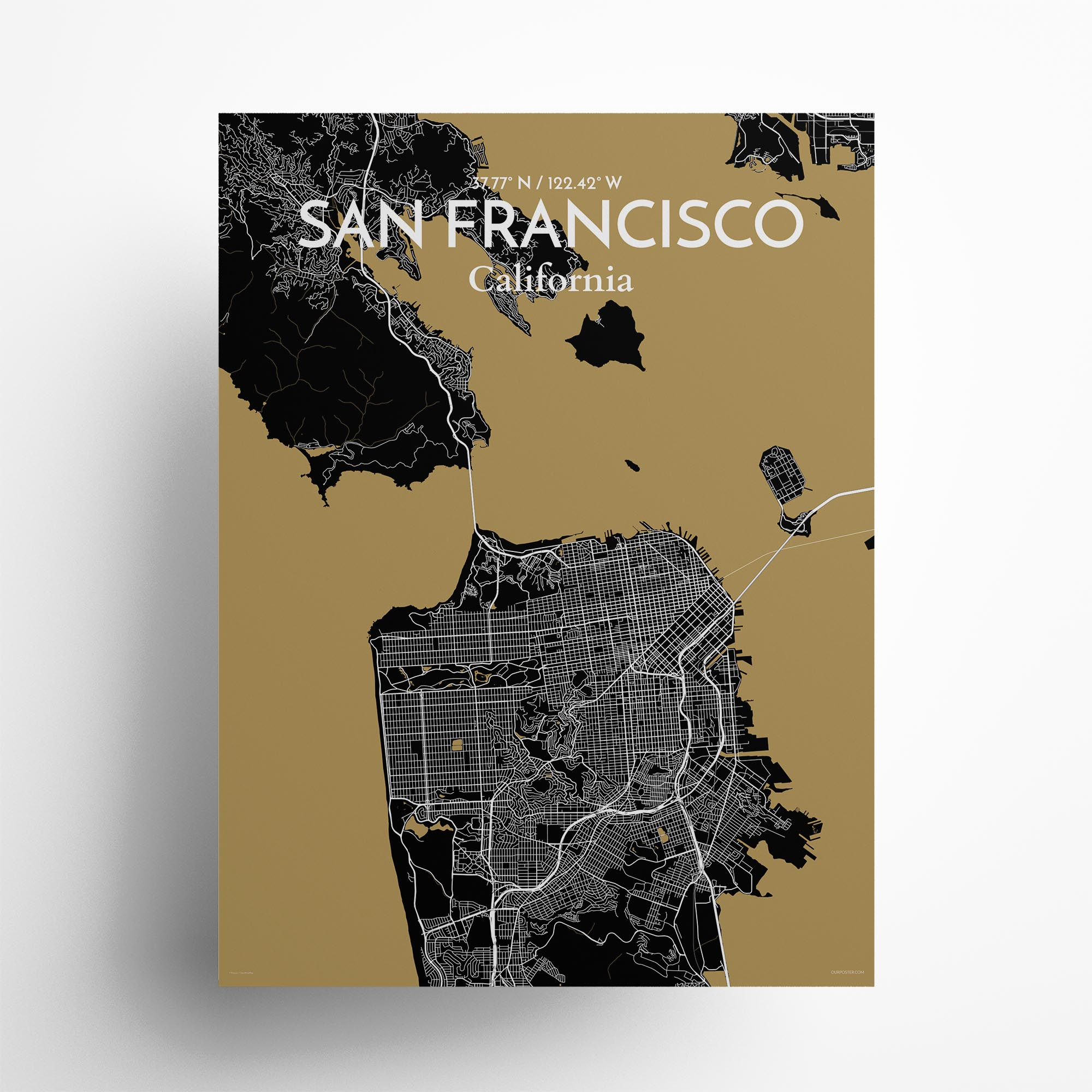 "San Francisco city map poster in Luxe of size 18"" x 24"""