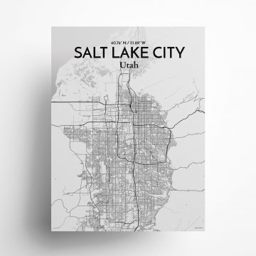 "Salt Lake City city map poster in Tones of size 18"" x 24"""
