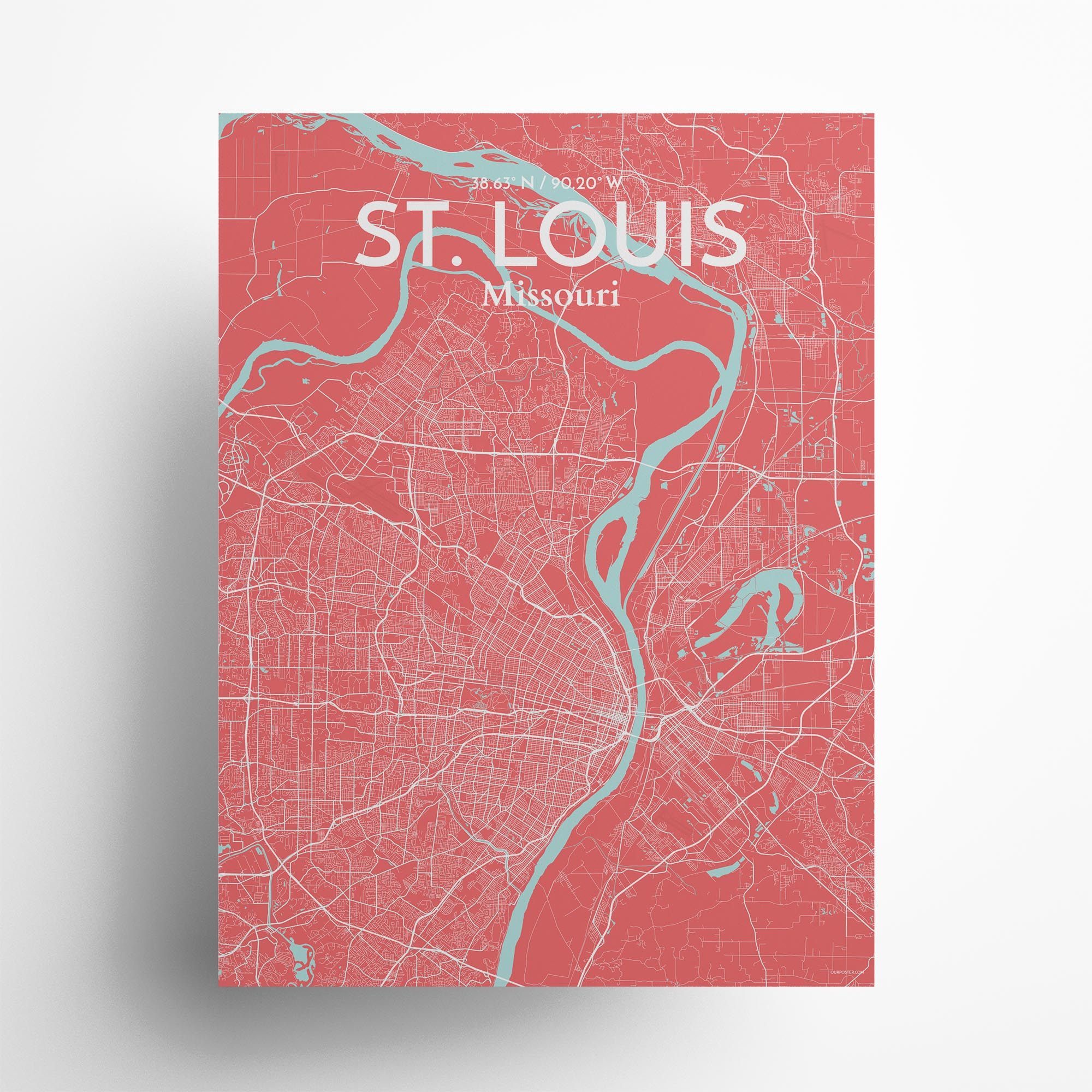 "St. Louis city map poster in Maritime of size 18"" x 24"""