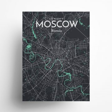 "Moscow city map poster in Dream of size 18"" x 24"""