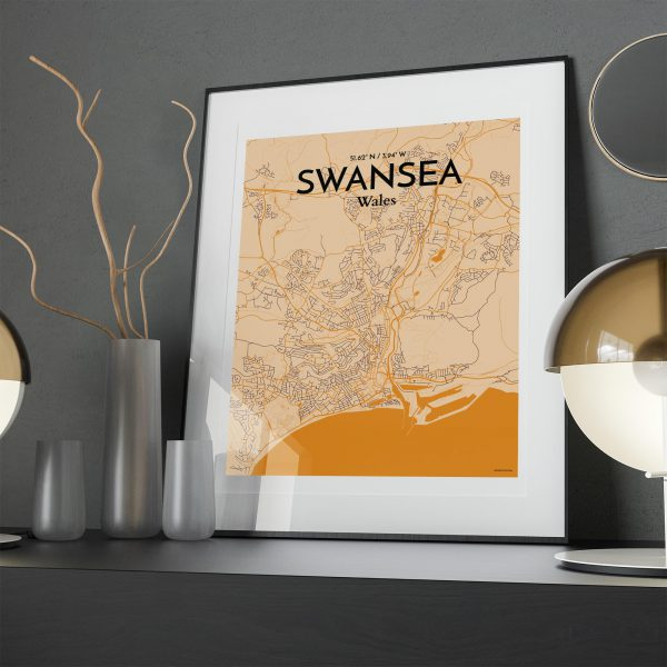 Swansea City Map Poster by OurPoster.com