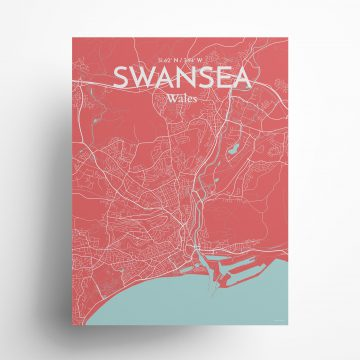 "Swansea city map poster in Maritime of size 18"" x 24"""