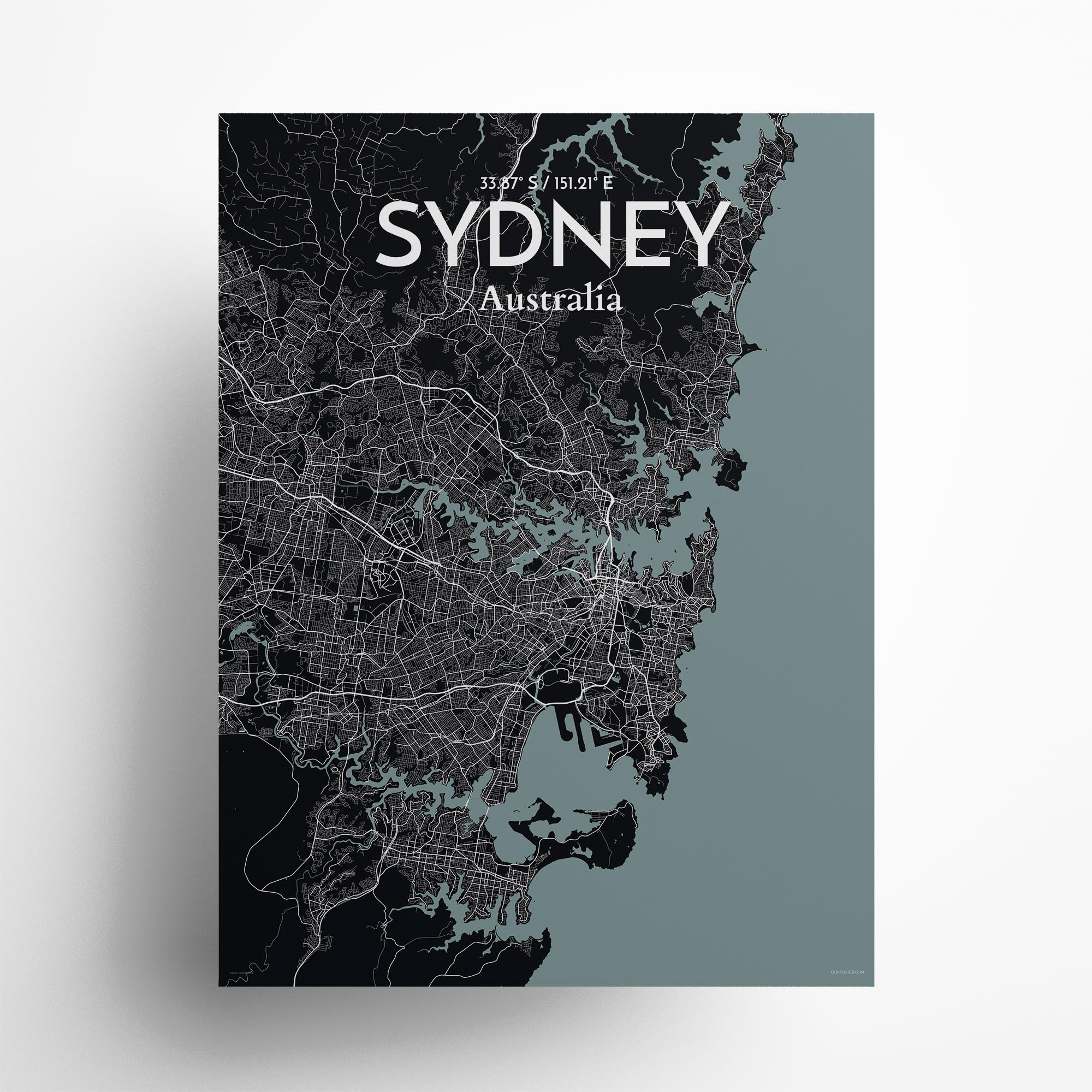 "Sydney city map poster in Midnight of size 18"" x 24"""